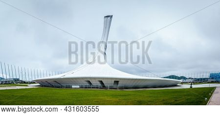 Sochi, Adler, Russia, April 14, 2016: View of Olympic Torch Monument  in Olympic Park in Sochi after the Winter Olympics of 2015