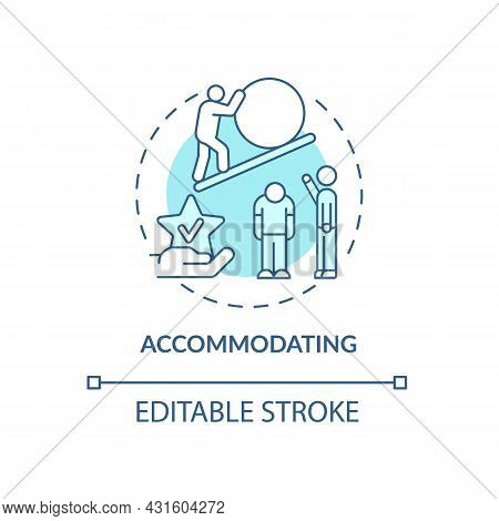 Accommodating Blue Concept Icon. Strategy To Confronting Disagreements. Conflict Management Style Ab