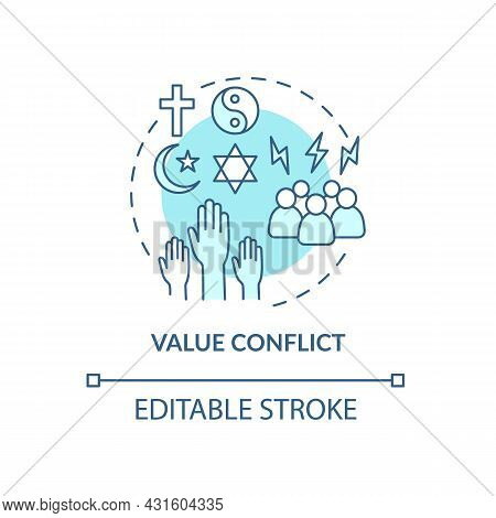 Value Conflict Blue Concept Icon. Disagreement About Personal Beliefs And Religion. Conflict Managem