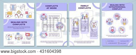 Dealing With Conflicts Brochure Template. Relations Issues. Flyer, Booklet, Leaflet Print, Cover Des
