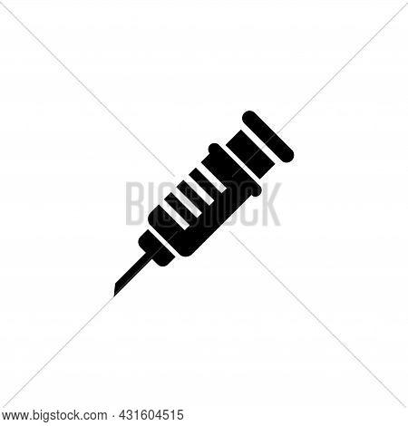 Medical Syringe, Vaccine Injection Ose. Flat Vector Icon Illustration. Simple Black Symbol On White