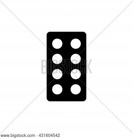 Oral Contraception, Women Hormonal Pills Blister. Flat Vector Icon Illustration. Simple Black Symbol