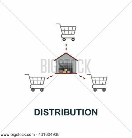 Distribution Flat Icon. Simple Sign From Procurement Process Collection. Creative Distribution Icon