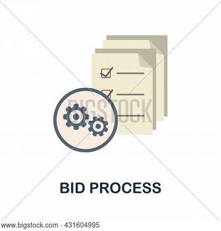 Bid Process Flat Icon. Simple Sign From Procurement Process Collection. Creative Bid Process Icon Il