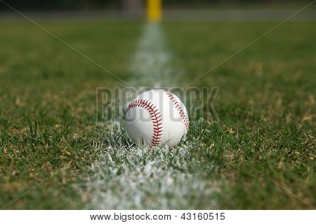 Baseball on the Outfield Fair Ball Chalk Line