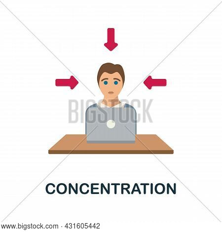 Concentration Flat Icon. Colored Sign From Productivity Collection. Creative Concentration Icon Illu