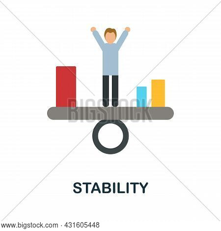 Stability Flat Icon. Colored Sign From Productivity Collection. Creative Stability Icon Illustration