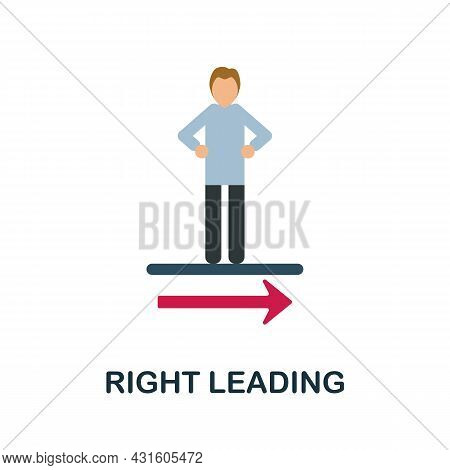 Right Leading Flat Icon. Colored Sign From Productivity Collection. Creative Right Leading Icon Illu