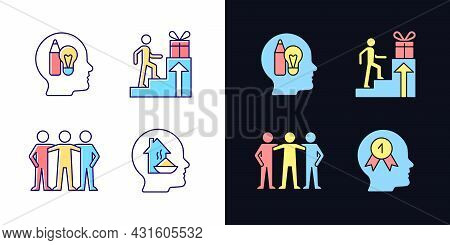 Motivational Boosters Light And Dark Theme Rgb Color Icons Set. Basic Needs. Desire To Belong To Com