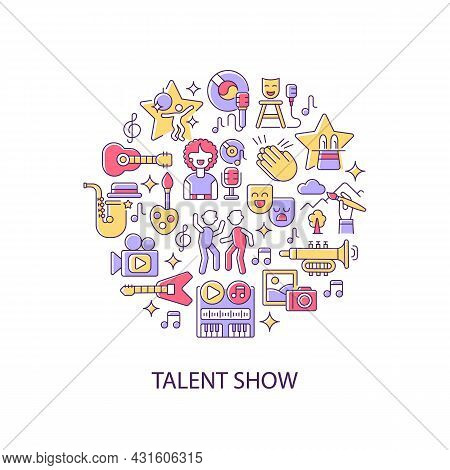 Talent Show Abstract Color Concept Layout With Headline. Demonstrate Talent And Creativity. Fun And