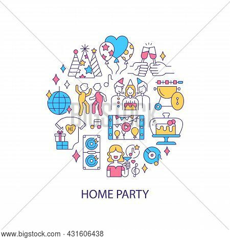 Home Party Abstract Color Concept Layout With Headline. Celebrating Birthday With Friends And Family