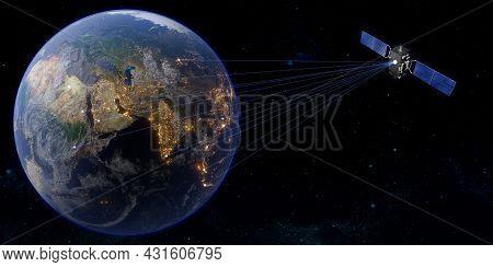 Communication Satellite Worldwide Satellite Transmission 3d Illustration