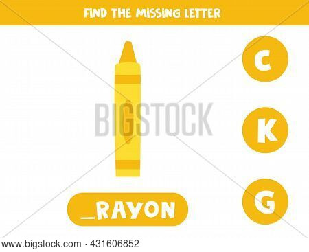 Find Missing Letter. Cute Kawaii Crayon. Educational Spelling Game For Kids.