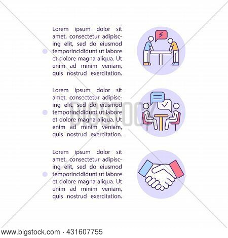 Workplace Conflict Resolution Concept Line Icons With Text. Ppt Page Vector Template With Copy Space