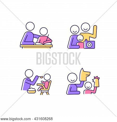 Effective Parenting Style Rgb Color Icons Set. Helping With Homework. Family Portrait. Feeding In Hi