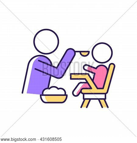 Feeding In Highchair Rgb Color Icon. Helping Baby Eating. Keeping Toddler Upright. Bonding With Chil