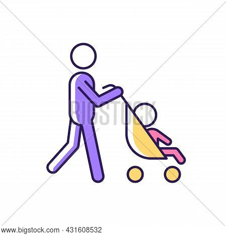 Walking With Stroller Rgb Color Icon. Take Child For Walk Outside. Walking With Baby Carriage. Early