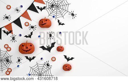 3d. Banner Backgroundhalloween Festival On Orange Background Ghost Pumpkin, Bats, Gossamer, Spiders,