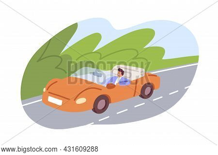 Happy Driver Riding Convertible Car. Man Travel Alone By Open-top Auto. Person Traveling By Road On