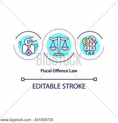Fiscal Offence Law Concept Icon. Avoid Tax Pay Abstract Idea Thin Line Illustration. Financial Fraud