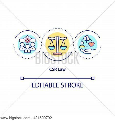 Csr Law Concept Icon. Corporate Social Responsibility Abstract Idea Thin Line Illustration. Company