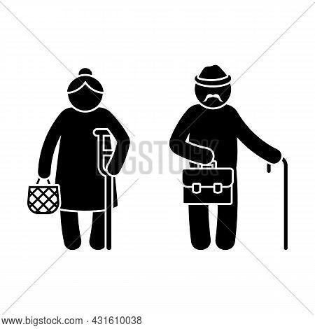 Grandparent Stick Figure Old Grandpa And Grandma Vector Illustration Set. Grandfather With Walking S