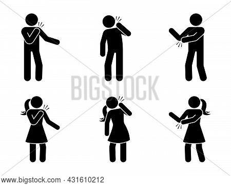 Stick Figure Man And Woman With Pain In Shoulder, Elbow, Neck Icon Vector Set. Sick Stickman Having
