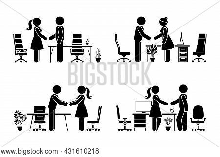 Stick Figure Business Male And Female Negotiation Vector Icon Set. Stickman Office Partners Handshak