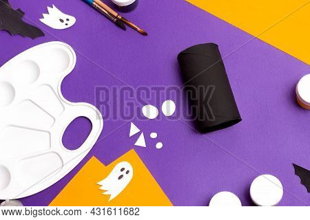Handmade Craft Project Toilet Paper Tube. Making Cute Monster For Halloween. Step By Step Photo Inst