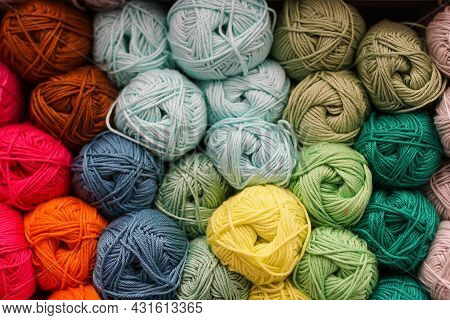 Colorful Background Of Many Yarn For Handmade Knitting. Knitting Pattern