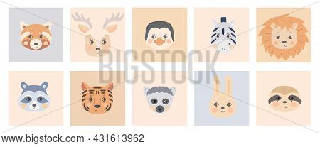 Cute Simple Animal Faces On Colorful Backgrounds. Portrait Of A Cartoon Funny Lion, Lemur, Hare, Tig