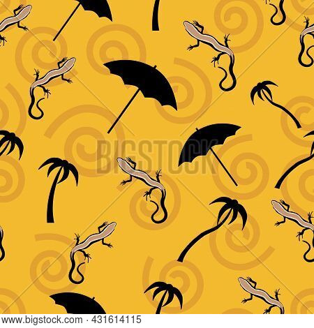 Beautiful Lizards, Black Umbrella And African Symbols On A Sandy Background. Hand-drawn Illustration