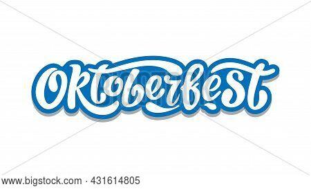 Oktoberfest Handwritten Lettering Vector Design, White Letters On The Blue Background. Design Templa