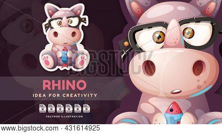 Cartoon Character Animal Rhino With Fish. Vector Eps 10