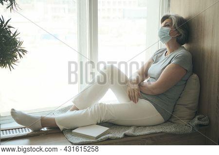 Sad Sick Elderly Woman Wearing Mask Despairing Worried About Medical Issue Injury, Fearful Of Diseas