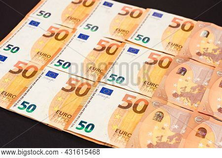Euro Currency Of The European Union, Texture Of 50 Euros.