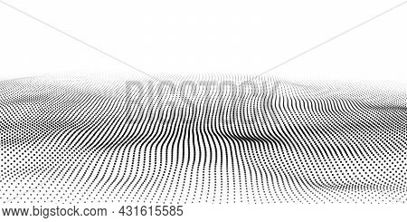 Futuristic Technology Wave. Digital Cyberspace. Abstract Vector Wave With Moving Particles. Big Data