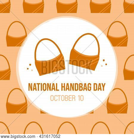 National Handbag Day Vector Cartoon Style Greeting Card, Illustration With Brown Leather Bags Patter