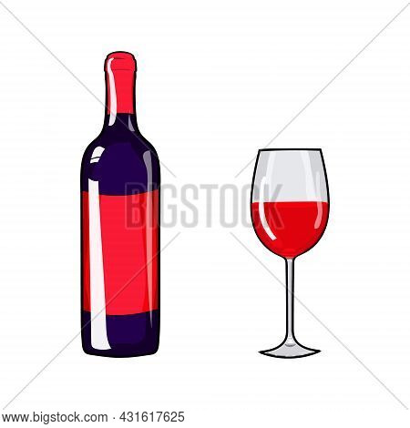 Glass Of Wine And Wine Bottle. Hand Drawing Wine. Vector Illustration Red Wine. Alcohol Design Eleme