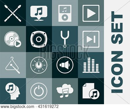 Set Music Book With Note, Equalizer, Fast Forward, Player, Stereo Speaker, Vinyl Disk, Drum Sticks A