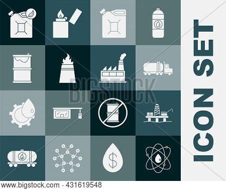 Set Atom, Oil Platform In The Sea, Tanker Truck, Canister Gasoline, Rig With Fire, Barrel Oil Leak,