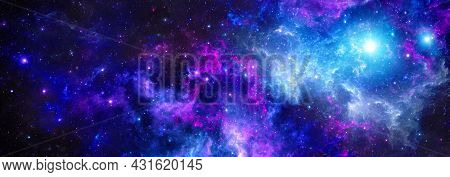 Cosmic Background With A Purple Giant Nebula And The Glitter Of Stars In Deep Space