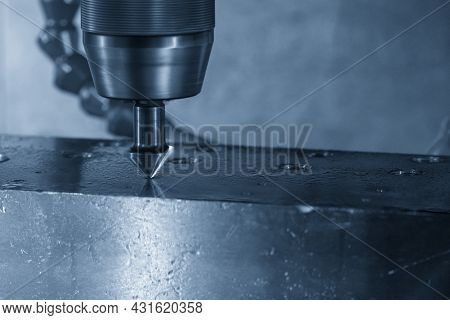 The Hole Chamfering Process By Chamfer Tool On Nc Milling Machine. The Shop Floor Operation By Nc Mi