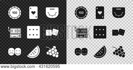Set Casino Chips, Playing Card With Heart, Poker Table, Player, Slot Machine Watermelon, Grape, Slot