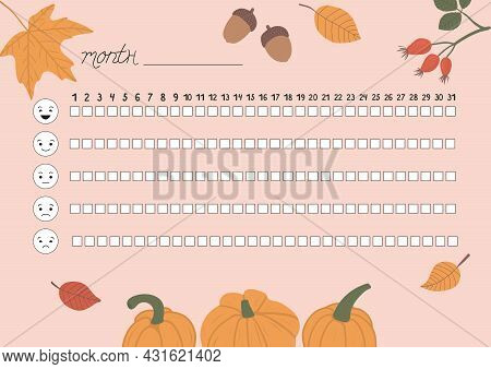 Printable A4 Paper Sheet With Fall Leaves, Autumn Attributes And To Fill Planner Of Mood Tracker In