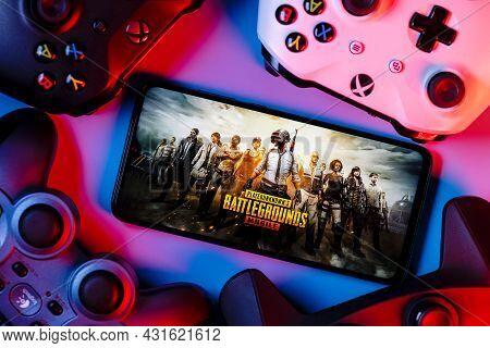 Kazan, Russia - September 01, 2021: Playerunknown Battlegrounds (pubg) Is An Online Multiplayer Batt