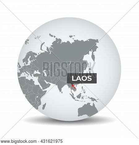World Globe Map With The Identication Of Laos. Map Of Laos. Laos On Grey Political 3d Globe. Asia Ma