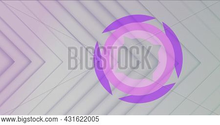 Image of purple and pink ring rotating and spinning on a grey background with moving parallel right angle contoured lines. Colour, light and movement concept digitally generated image
