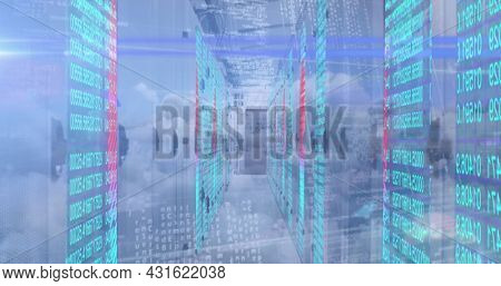 Image of data processing over computer servers against sky with clouds. digital interface global connection and communication concept digitally generated image.