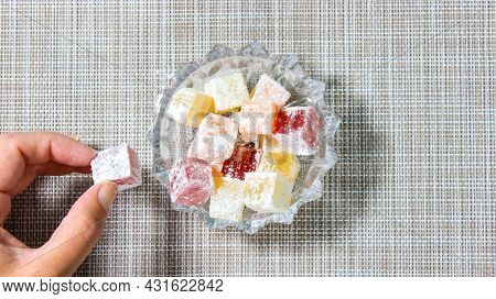 Turkish Delight, Which Is Gradually Filled With A Transparent Cup. Turkish Dessert. Top View.